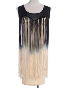 bf1b8bcc PrettyGuide Gatsby Style 1920s Sheer Neckline Ombre Long Fringe Trim Flapper  Dress