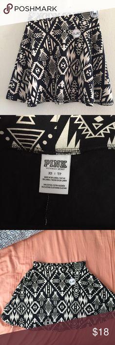 PINK Victoria's Secret XS Aztec Mini Skirt PINK Victoria's Secret XS Cotton Black Aztec Stretch Mini Skater Skirt  Size: XS  Materials: 94% Cotton 6% Elastane  Measurements: Waist: 12in Hips: 21in Length:  14.5in PINK Victoria's Secret Skirts Mini