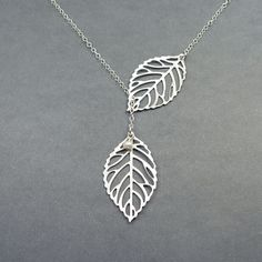 Double Leaf Necklace, Leaf Lariat, Sterling Silver Chain, Leaf Jewelry with Freshwater Pearl. $26.00, via Etsy.