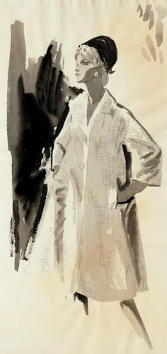 """Fashion illustration by Mimi Monette (1914-2010),""""Town & Travel Shop- Togetherness"""", gouache and pencil."""