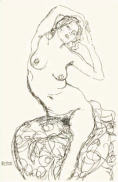 Female Nude Study by Gustav Klimt