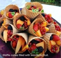 Love this Eco snack idea that is both healthy and budget friendly . Great for even your pickiest eaters. What kid or adult wouldn't love an icecream cone snack.. Whether you're on the lake BBQing or throwing a baby shower either way it's sure to be a hit. :)