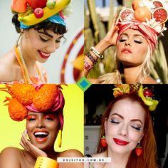 Inspirações de maquiagem de Carmem Miranda. Aposte no delineador preto bem marcado e boca destacada, de preferência vermelha