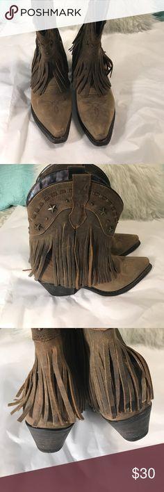 Dingo cowboy boots with fringe Worn once. EUC Dingo Shoes Heeled Boots