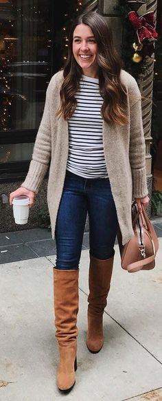 #winter #fashion / Cream Cardigan / Striped Top / Navy Skinny Jeans / Brown OTK Boots