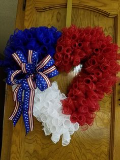 Birthdays heart wreath heart wreath form dollar tree heart wreath pom pom h - The world's most private search engine Patriotic Wreath, Patriotic Decorations, 4th Of July Wreath, Flag Wreath, Valentine Day Wreaths, Valentines Day Decorations, Holiday Wreaths, Easter Wreaths, Wreath Crafts