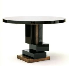 Hervé van der Straeten - Table Cumulus, 2004 Black Beauty stone top,  base in dark violet, night blue, and plumb lacquered wood and patinated bronze cubes. Edition of 20 - 73.7 × 109.9 × 109.9 cm
