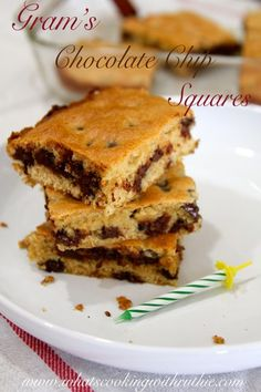 Gram's Chocolate Chip Squares!  SO quick and easy... ready in minutes!! by whatscookingwithruthie.com #recipes #desserts