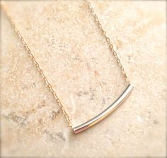 Two Tone Sterling Tube Necklace Bead Gold Filled Chain Silver Minimalist Dainty Mixed Metal Bar Necklace Gifts for Her Under 25