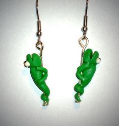 Ohrringe Echse Tiere Damen Hänger Durchzieher Ohrschmuck Modeschmuck Grün