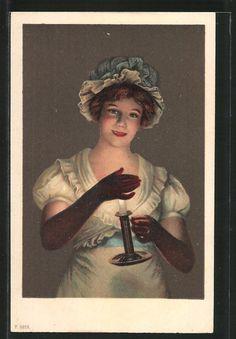old postcard: AK junge Dame mit Hut hält ihre Hand vor eine Kerze