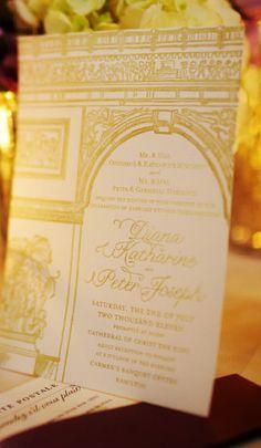White and Gold Wedding. gold invitation