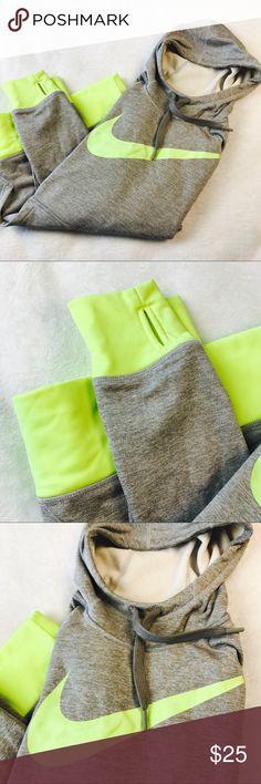 NWOT Nike thermafit hoodie neon yellow grey medium NWOT Nike thermafit hoodie neon yellow and grey size medium Nike Tops Sweatshirts & Hoodies