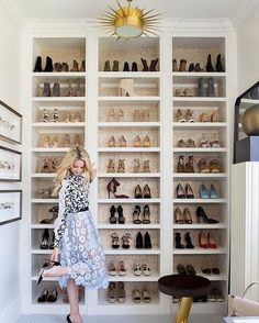 """This wall is one my favorite spots in my house! The cork detail behind the shelves, the gold sun chandelier, and that beautiful full-length mirror are just a few of my favorite details! And my shoes, of course!"""" -#LTKathomewith @emilyijackson 