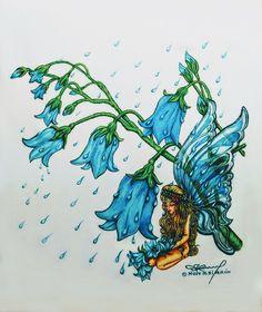 Fairy Beneath Bluebells in the Rain - Art Rain Art, Nature Animals, Whimsical Art, Rainy Days, Faeries, Folk, Sunshine, Fairy, Painting