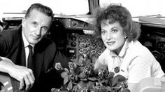 Maureen O'Hara on board the Flying Boat with her husband.