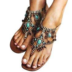 Women PU Sandals Casual Flip Flops Plus Size Bohemia Shoes Casual Date, Style Casual, Botas Hippy, Flip Flop Shoes, Flip Flops, Flat Sandals, Leather Sandals, Shoes Sandals, Gladiator Shoes