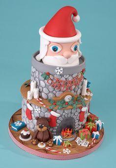 Christmas fireplace cake