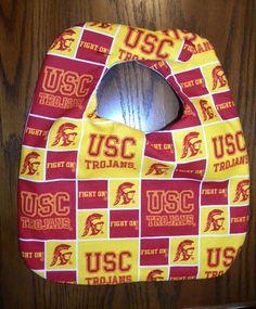 Hand Crafted University of Southern California Trojans Baby Bib NEW