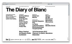 simple graphic design. type helvetica. http://www.p-a-r.net/blancfestivalonline.html