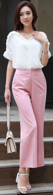 StyleOnme_Ankle Length Wide Leg Pants #pink #feminine #koreanfashion #kstyle #kfashion #dailylook #elegant #pants #slacks #seoul