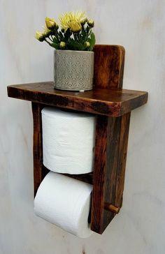 Handmade Furniture, Vintage Furniture, Diy Furniture, Industrial Furniture, Vintage Industrial, Furniture Design, Wood Toilet Paper Holder, Toilet Roll Holder, Rustic Bathroom Shelves