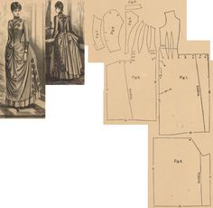 Der Bazar 1887: Indoor dress from light brown English woollen with brown braiding; 1. front part in half size, 2. side gore, 3. back gore in half size, 4. bodice's back part, 5. collar in half size, 6. and 7. sleeve parts