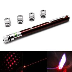 1mw+650nm+Red+Beam+Laser+Stage+Pen+with+5+Laser+Light+Patterns,+Built-in+Battery+-+Red