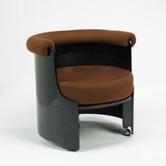 LUIGI CACCIADOMINIONI  armchair  Azucena Italy , 1969 lacquered wood, upholstery 31 w x 30 d x 28 h inches