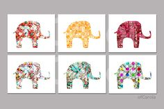 ARTSY ELEPHANT PRINT Set - Home Love Wall Art Print Digital Collage - Mix Colors Red Orange Yellow Turquoise Beige ofCarola 8x10 inch