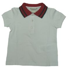 bd55fbbced0 This Gucci Baby Boys white polo has a red and dark green striped collar.
