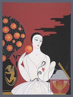 Erté - Cover for Harpers Bazaar - Mariage d'Amour, 1927 - Metropolitan Museum of Art Art Deco Illustration, Illustrations, Art Deco Artwork, Erte Art, Romain De Tirtoff, Art Et Architecture, Art Deco Artists, Art Deco Stil, 23 November