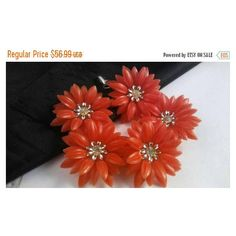 Now On Sale Coro Red Flower Bracelet Designer Signed Mid Century... ($40) ❤ liked on Polyvore featuring jewelry, bracelets, rhinestone bangles, coro jewelry, coro, red rhinestone jewelry and flower jewellery