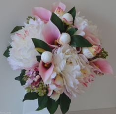 Silk wedding bouquet peony pink calla lily lilac bouquets flower posy flowers