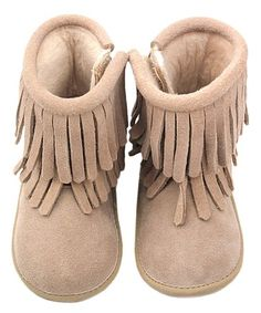 Loving this Light Tan Double Fringe Suede Moccasin on #zulily! #zulilyfinds