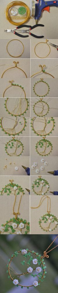 DIY Tree of Life Pendent - How to Make a Creative Tree of Life Pendent Necklace Tree Of Life Jewelry, Tree Of Life Necklace, Diy Necklace, Pearl Necklace, Necklaces, Wire Crafts, Bead Crafts, Jewelry Crafts, Handmade Jewelry