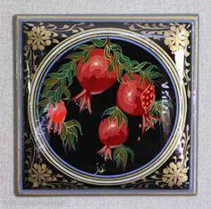 POMEGRANATE~Uzbekistan, painted on wood by M. Irmatov
