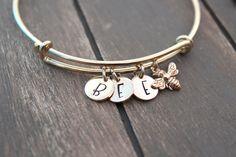 Bangle Bracelet Bumble Bee Bracelet Personalized Jewelry Initial Bracelet Bumble bee Jewelry GOLD in Bumble Bee Jewelry, Diamond Jewelry, Gold Jewelry, Bangle Bracelets, Bangles, Kawaii Jewelry, Initial Bracelet, Personalized Bracelets, Initial Charm