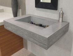 This Trueform ADA Floating Concrete Bathroom Sink with Wood Edge takes on the beautiful detail of a wood grained edge and yet still maintains a concrete appearance. Floating Bathroom Sink, Bathroom Sink Design, Small Bathroom Sinks, Bathroom Sink Vanity, Diy Vanity, Bath Design, Concrete Sink, Concrete Bathroom, Diy Concrete
