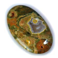 47Ct UNIQUE Natural Rhyolite Rainforest Jasper (44mmX26mm) DRILLED Pendant Bead
