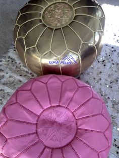 Light Pink Moroccan Leather Pouf/Ottoman - Sold UN-STUFFED on Etsy, $99.95