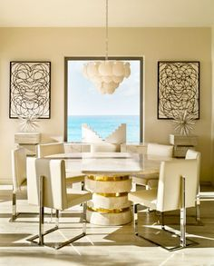 Viceroy Anguilla Dining Room - Kelly Wearstler.{Dining table base}