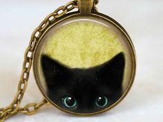 MIAU - edle Katzen Medaillon Kette retro Vintage von Kleines Karma - Natur & Trend Schmuck, Ketten & Colliers, Uhren, Accessoires und Geschenke aus Berlin auf DaWanda.com
