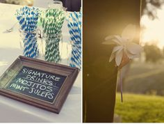 I adore and want this whole wedding. Love the straws, signature down-home drinks and the DIY pinwheel.