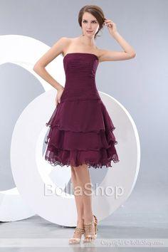 Elegant A Line Strapless Knee Length Tiered Skirt Chiffon Bridesmaid Dresses