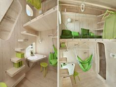 This 100 square-foot tiny home has tables that fold up into the wall and seal the windows! #Sustainability