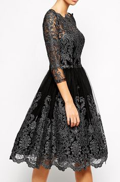 Lovely Clusters Shop | lovelyclustersshop.com: Chi Chi London Premium Metallic Lace Midi Prom Dress with Bardot Neck - Black