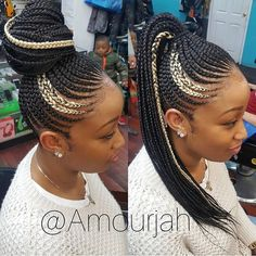 Afro hair is typically associated with natural curls that have a thick, frizzy texture. Such a distinctive type of hair might seem hard to manage, but this has not stopped African beauties from spo… Braided Ponytail Hairstyles, African Braids Hairstyles, My Hairstyle, Braided Updo, Girl Hairstyles, Cornrows Updo, Feed In Braids Ponytail, Hairstyle Ideas, Braided Ponytail Black Hair