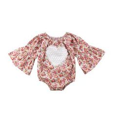 6b750ef06d9f Newborn baby fashion floral romper with bell sleeves and heart patch.   blossombeeyond  babyromper