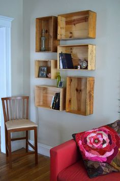 Wine Crate Shelves - easy DIY project with a huge impact! #DIY